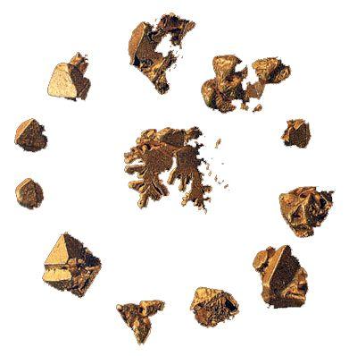 Отчетливо выраженные кристаллы золота