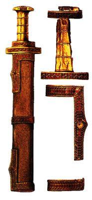 Меч Хильдерика, украшенный золотом и гранатами